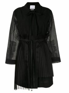 Shanshan Ruan pleated detail coat - Black