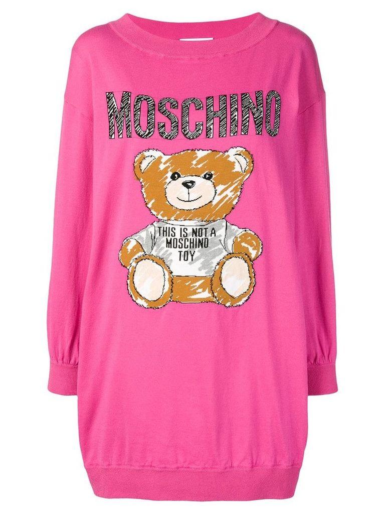 Moschino teddy intarsia sweater dress - Pink