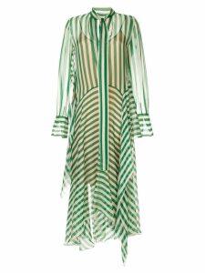 Petar Petrov asymmetric striped silk dress - Green