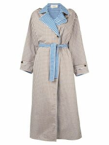 Ports 1961 contrast check trench coat - Brown