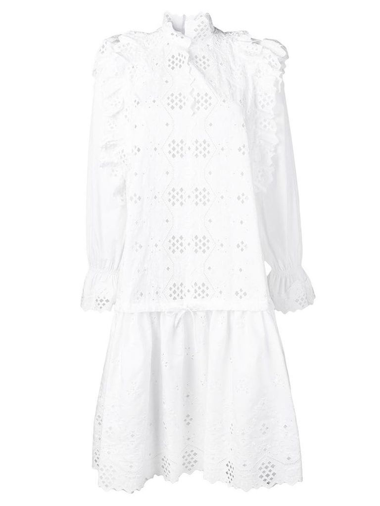Alberta Ferretti embroidered ruffle detail dress - White