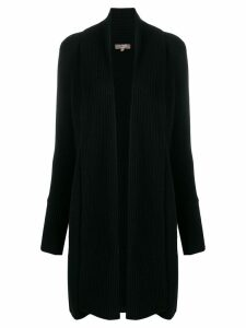 N.Peal vertical placket cardi-coat - Black