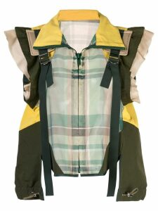 Sacai buckled paneled checked shirt - Green
