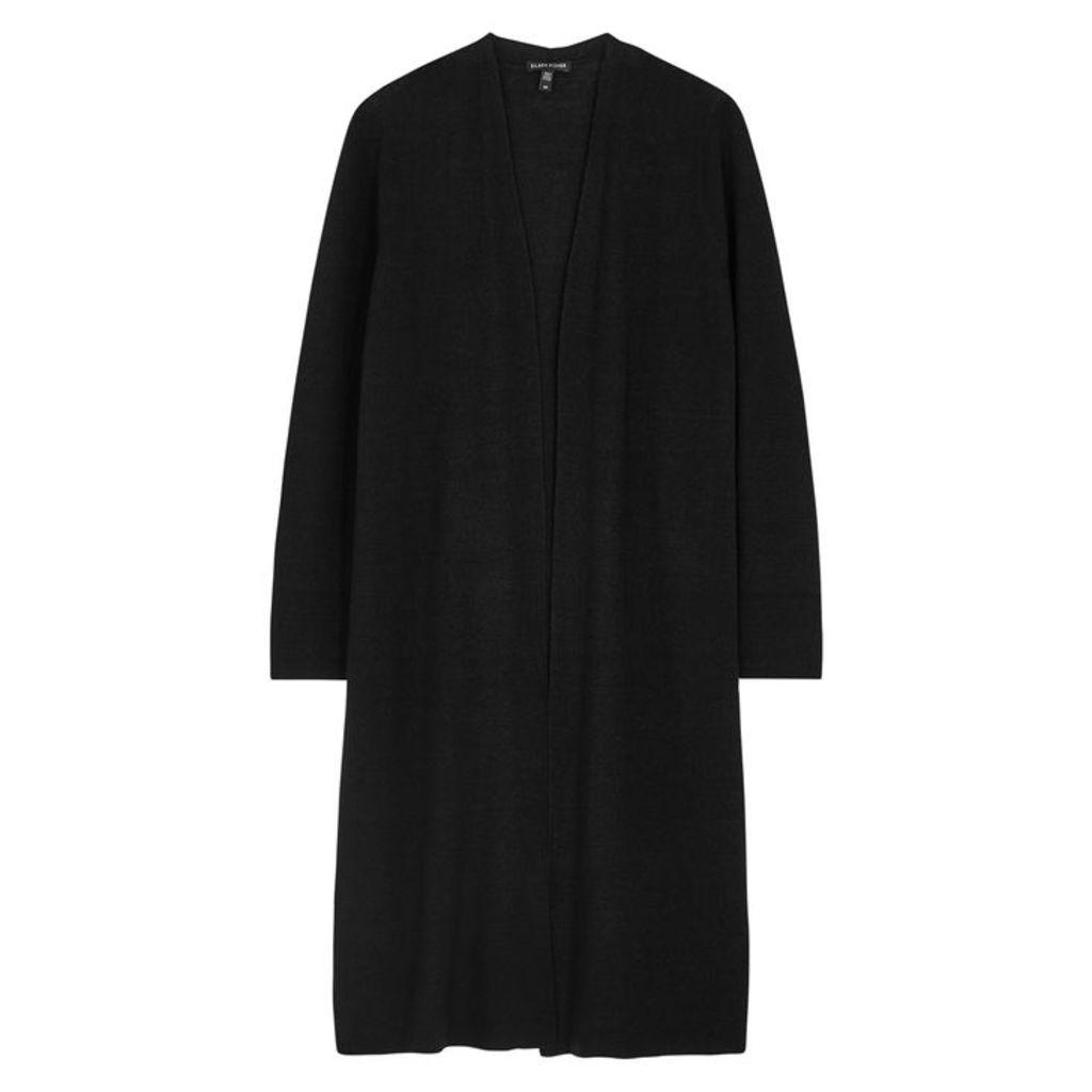 EILEEN FISHER Black Linen-blend Cardigan