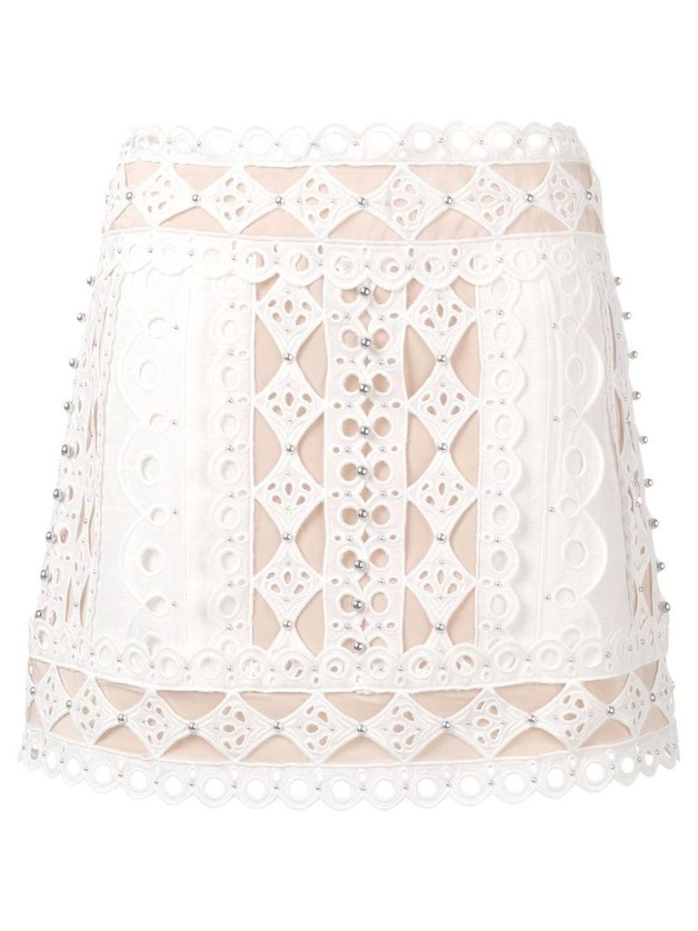 Zimmermann lace and stud skirt - White