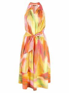 Josie Natori abstract print midi dress - Multicolour