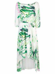 Josie Natori palm print asymmetric dress - White