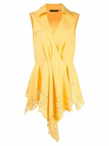 Josie Natori lace detail asymmetric blouse - Yellow
