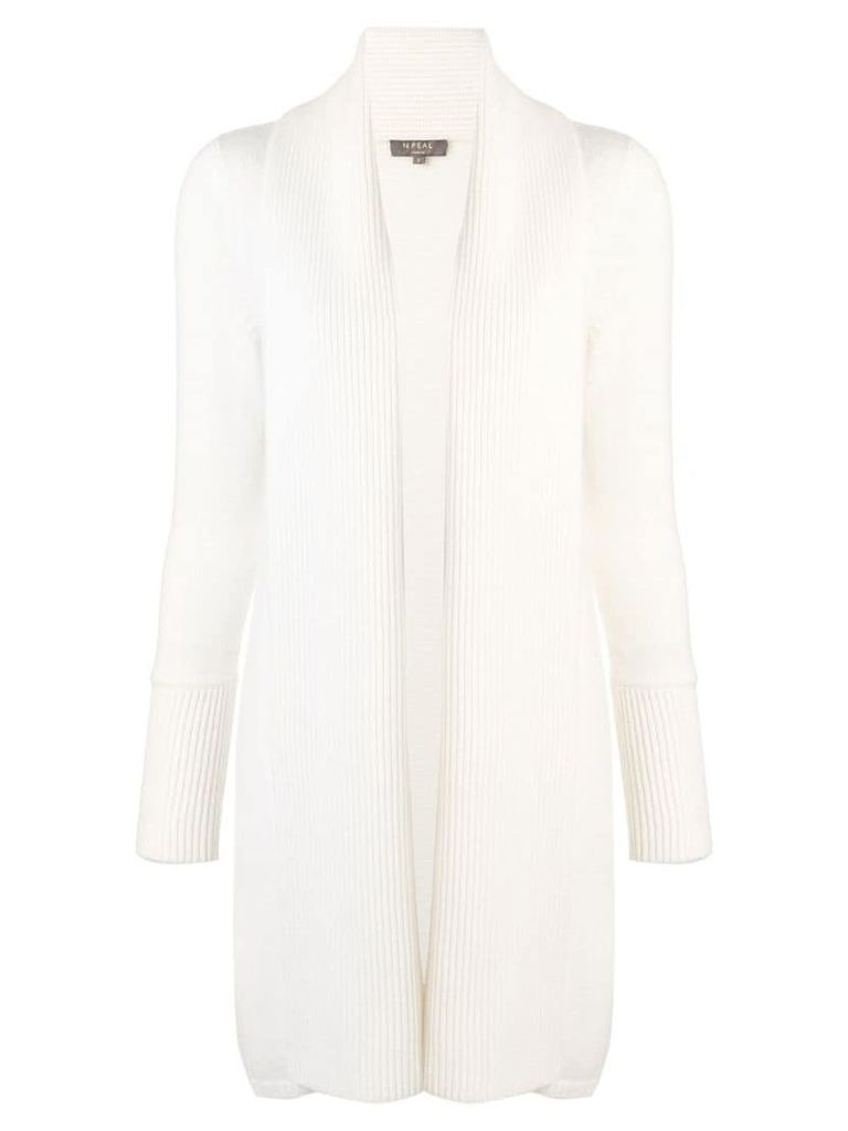 N.Peal vertical placket cardi-coat - White