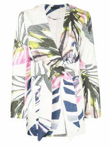 Josie Natori Botanical Palm jacquard belted topperdeep - White