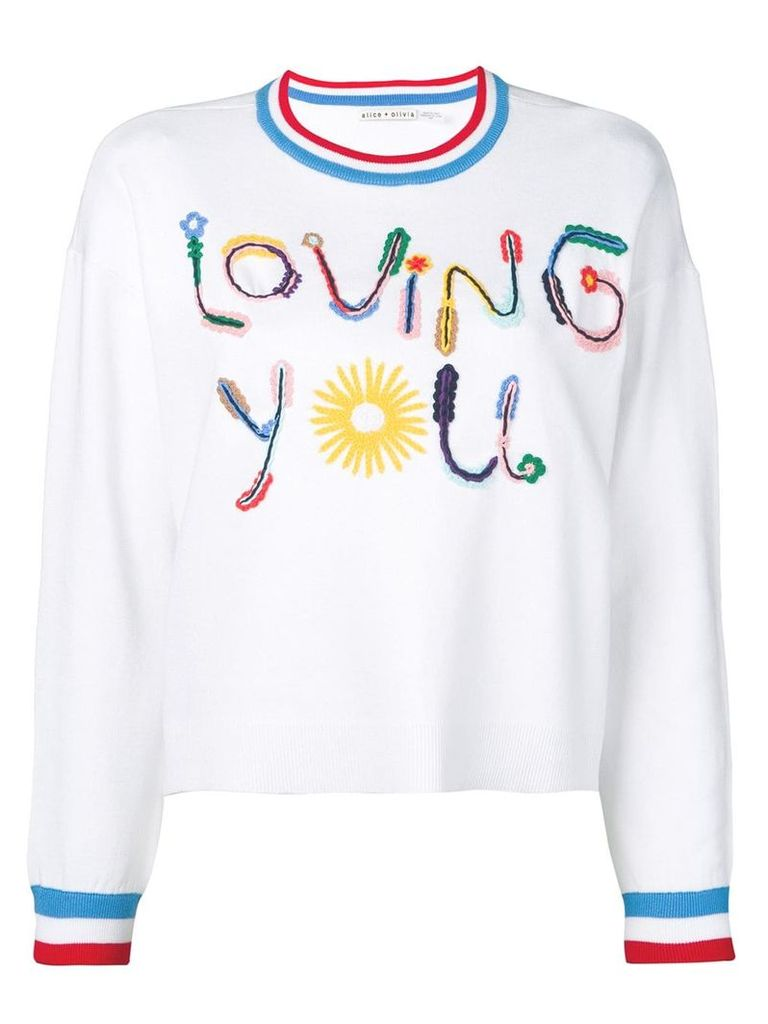 Alice+Olivia slogan print sweater - White