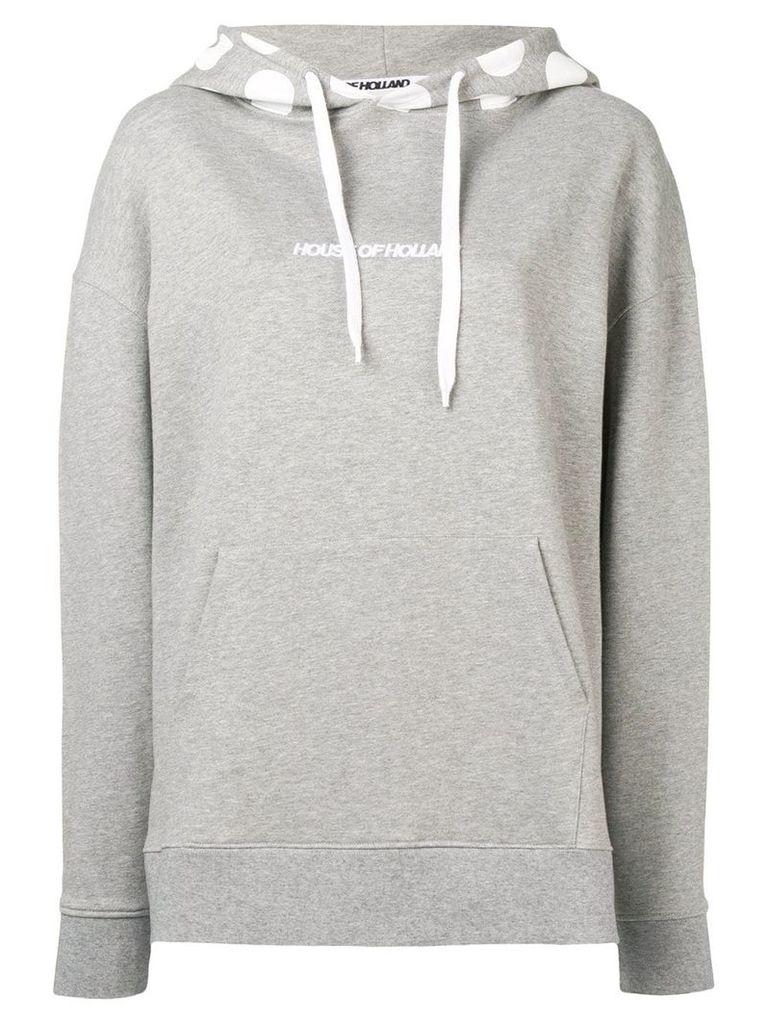 HOUSE OF HOLLAND logo polka-dot hoodie - Grey