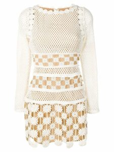 Self-Portrait embroidered floral fitted dress - Neutrals