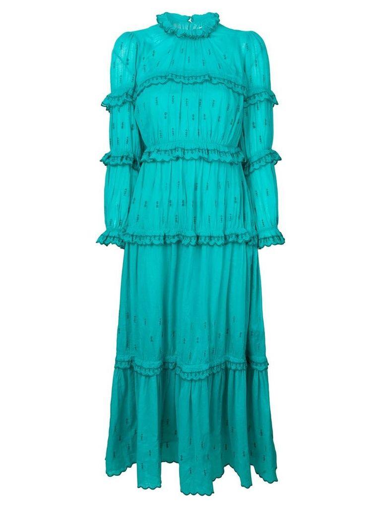 Isabel Marant Étoile ruffle trim embroidered dress - Green