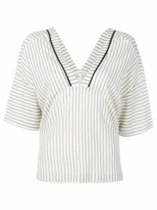 Forte Forte striped V-neck blouse - Neutrals