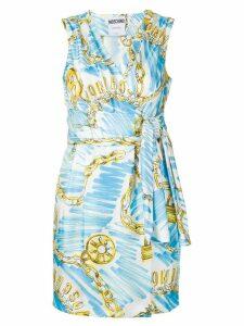 Moschino logo chain print dress - Blue