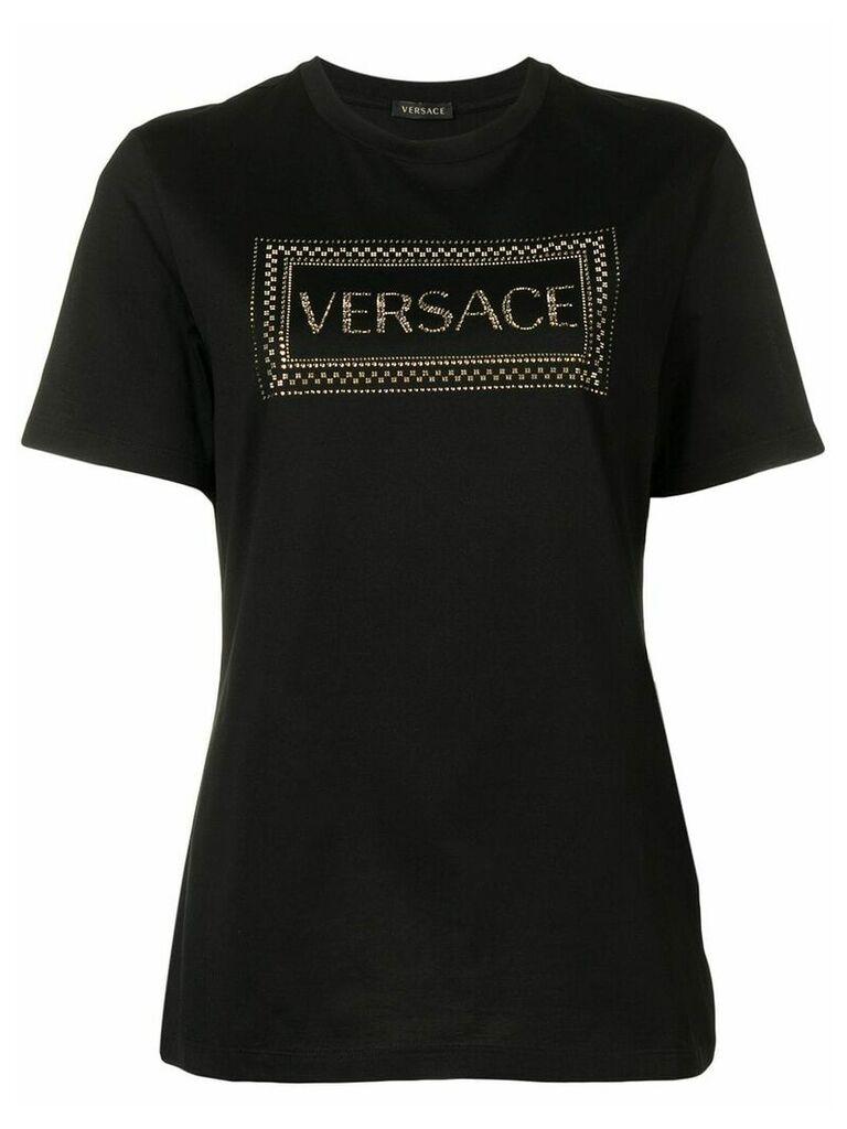 Versace 90s Vintage Logo embellished T-shirt - Black