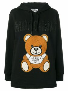Moschino teddy applique hoodie - Black