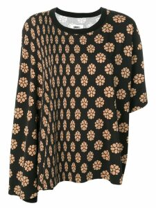 Mm6 Maison Margiela asymmetric floral top - Black