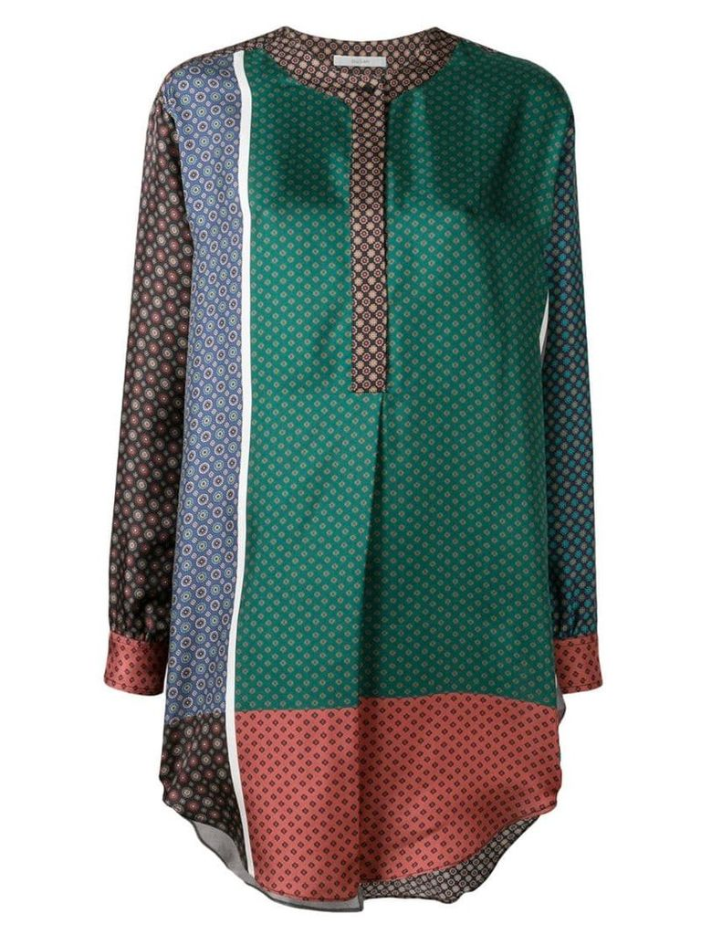 Dusan scarf print asymmetric blouse - Green