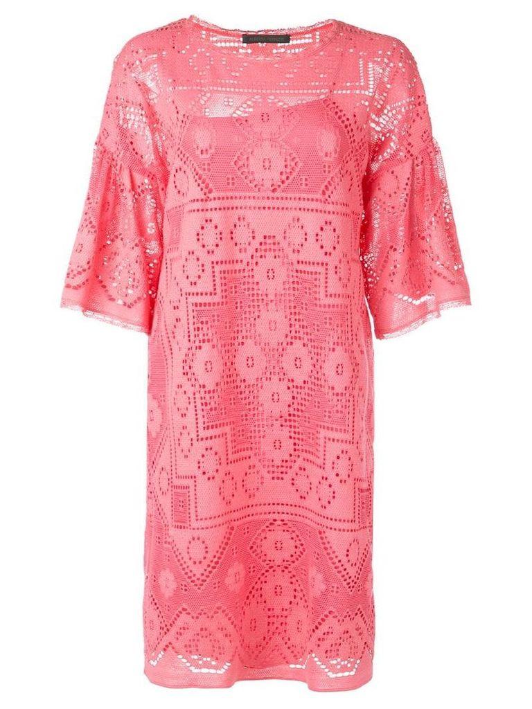 Alberta Ferretti eyelet detail dress - Pink