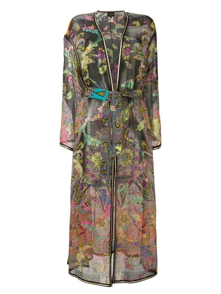 Etro embroidered jacquard duster coat - Black