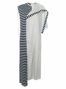 JW Anderson striped asymmetric cape dress - Blue