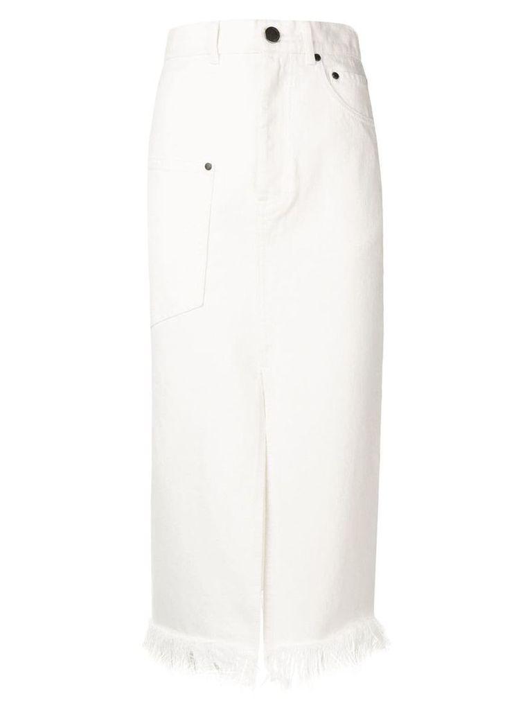 HOUSE OF HOLLAND frayed-hem midi skirt - White