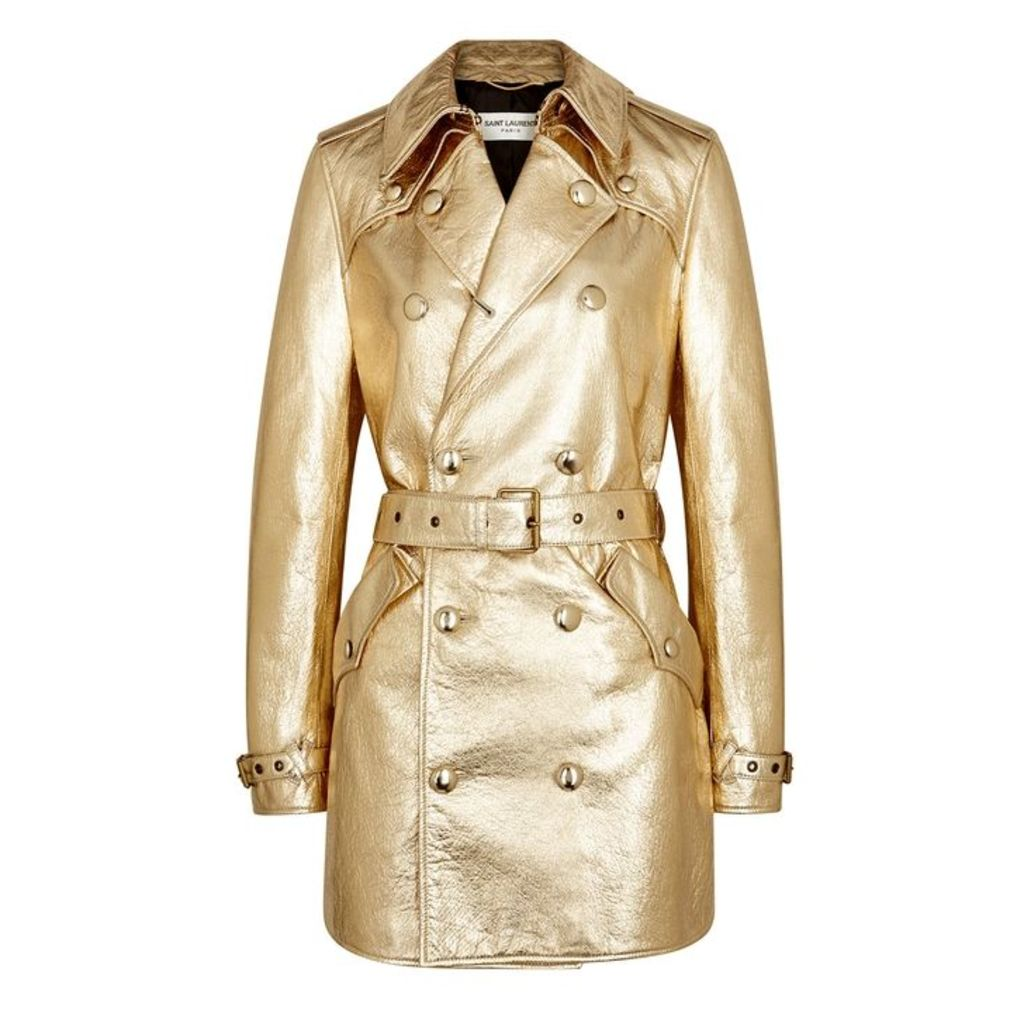 Saint Laurent Gold Leather Trench Coat