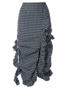Irene Ruffled Gingham Skirt - Blue