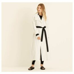 Amanda Wakeley White Double Pinstripe Trench Coat