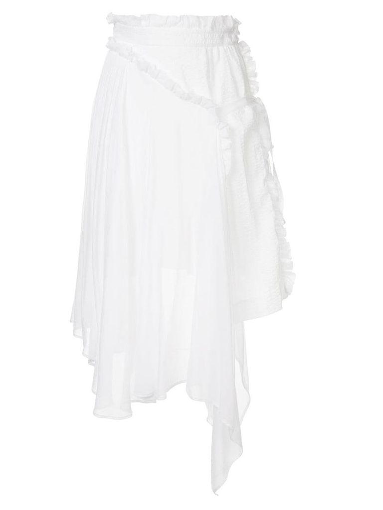 Shanshan Ruan asymmetric hem skirt - White