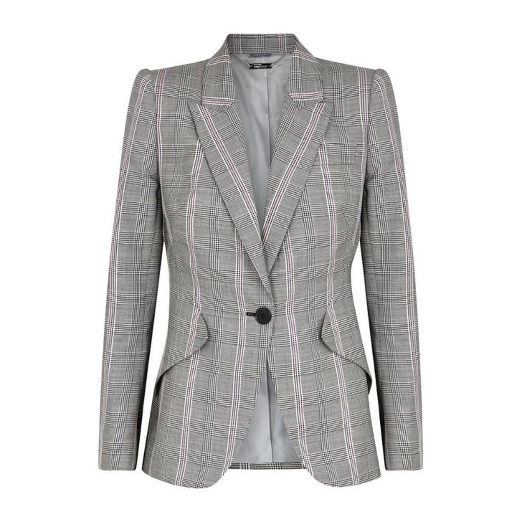Alexander McQueen Grey Checked Wool Blazer