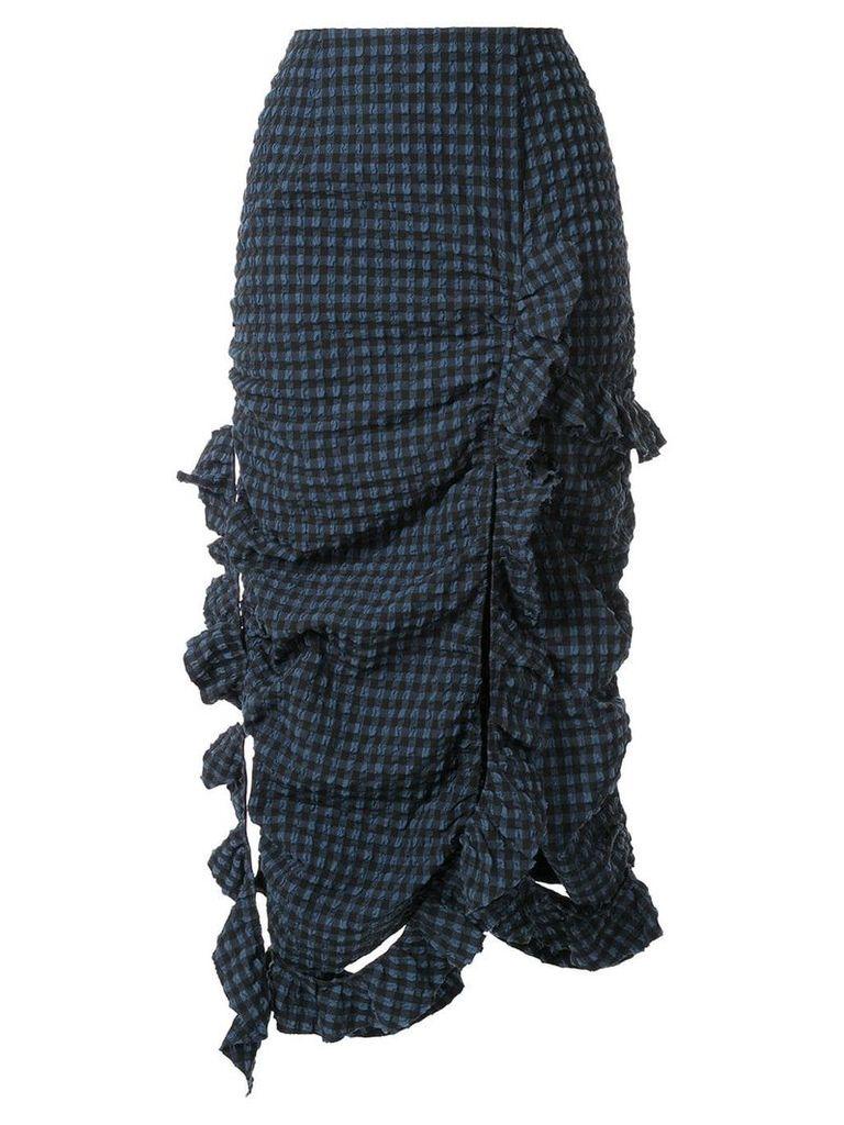 Irene Ruffled Gingham Skirt - Blue