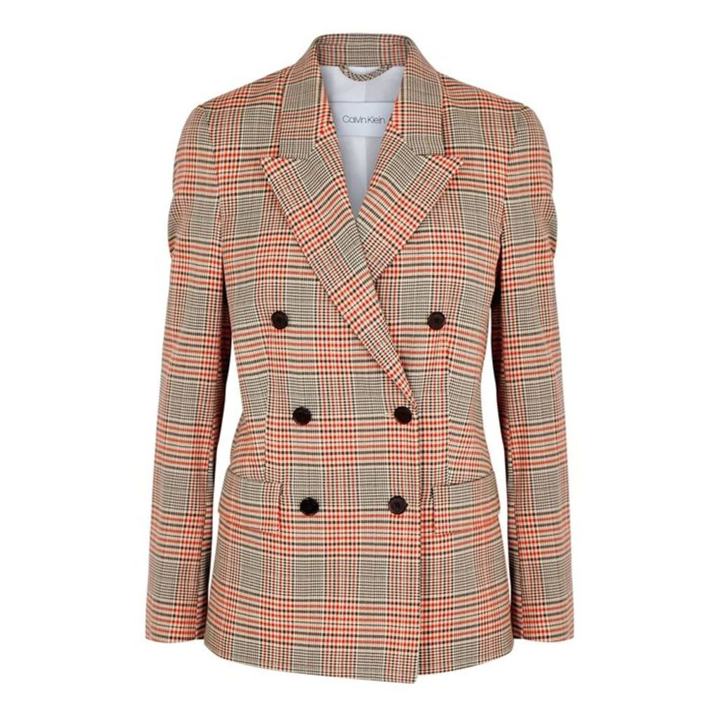 Calvin Klein Checked Double-breasted Wool-blend Blazer