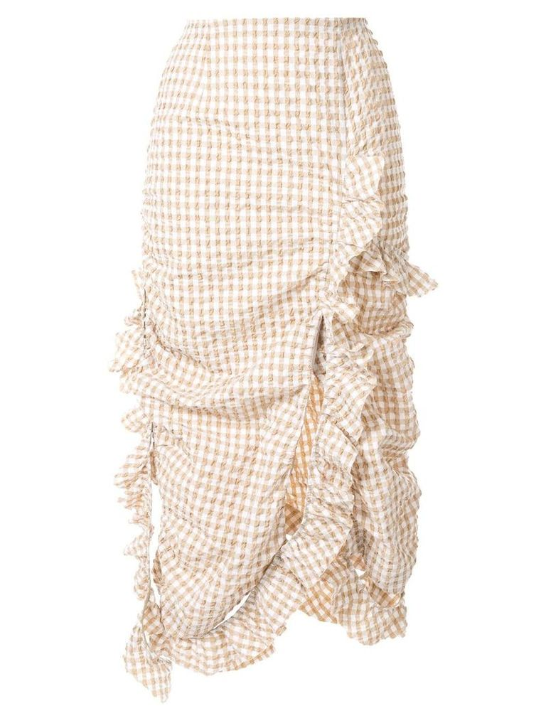Irene Gingham Ruffled Skirt - Yellow