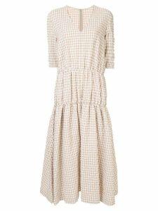 Irene Midi Gingham Dress - Brown