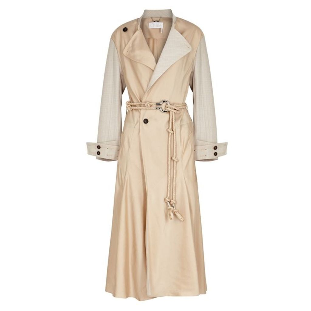 Chloé Flou Sand Satin-twill Trench Coat