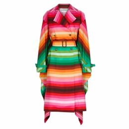 Valentino Striped Cape-effect Silk Trench Coat