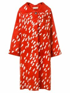 Marni brush stroke print oversized coat - Red