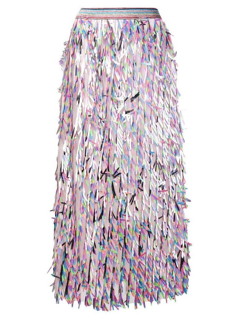 Ultràchic fringed midi skirt - Pink