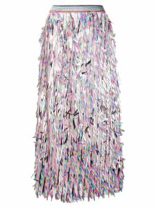Ultràchic fringed midi skirt - Pink