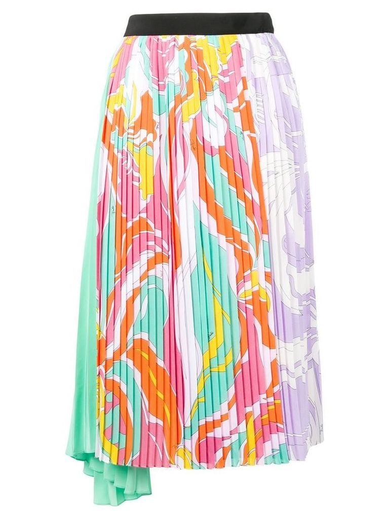 Emilio Pucci Rivera Print Pleated Mid-Length Skirt - Pink