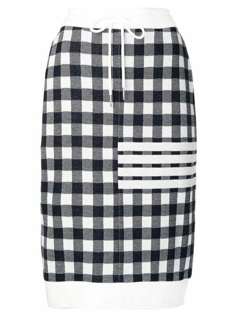 Thom Browne 4-Bar Gingham Check Sack Skirt - Blue