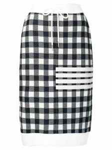 Thom Browne 4-Bar Gingham Check Sack Skirt - Blue
