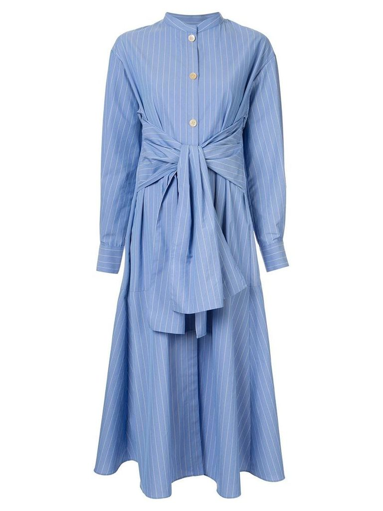 Le Ciel Bleu Striped Front Tie Shirt Dress - Blue