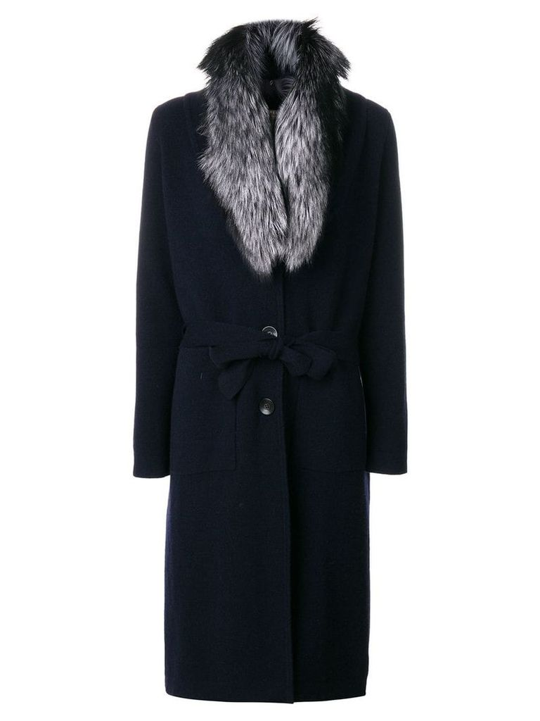 N.Peal fur collar knitted coat - Blue