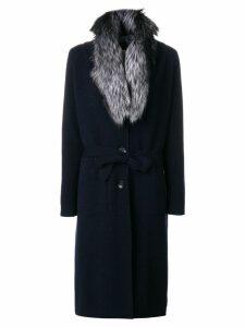 N.Peal fur collar knitted coat - Blue