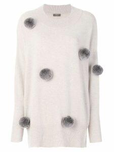 N.Peal long pom pom sweater - Neutrals