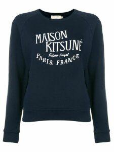 Maison Kitsuné logo embroidered sweatshirt - Blue